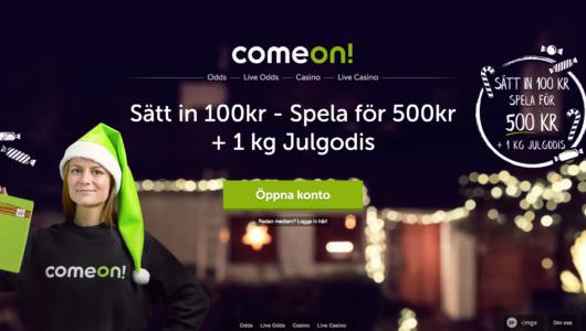 Julkampanj hos ComeOn som ger 1KG godis!